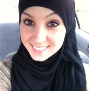 "Rebecca Minor, 28, of West Hartford, Conn., converted to Islam five years ago. Wearing a hijab ""reminds me to be a good person,"" she said."