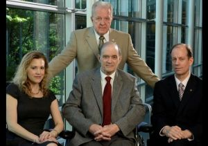 Lawyer Jesselyn Radack, left, with whistle-blowers J. Kirk Wiebe, standing; William Binney, center; and Thomas Drake.(Photo: H. Darr Beiser, USA TODAY)