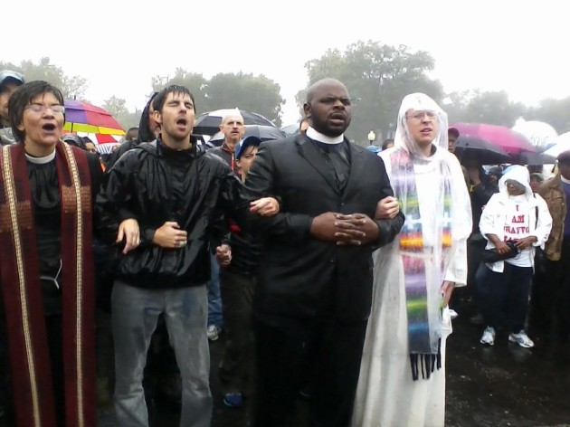 Clergy Protest in Ferguson leading to 20 arrests — October, 2014 — Photo Credit Associated Press