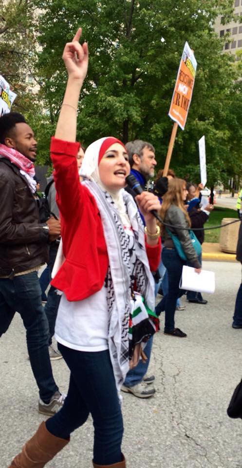 Linda Sarsour Marches in Ferguson, Missouri as a part of the #FergusonOctober protests