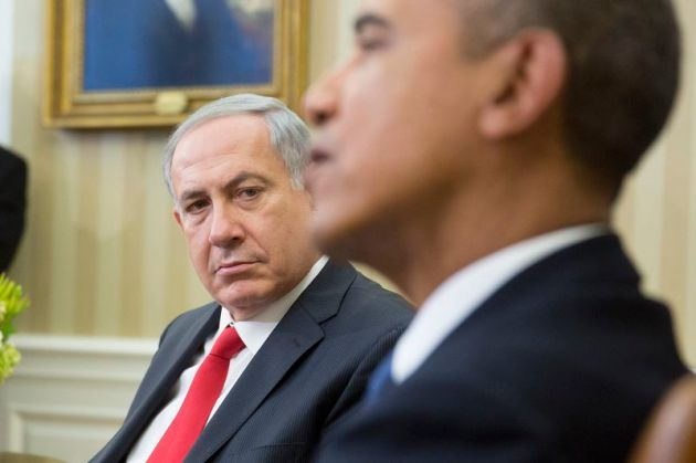 Israeli Prime Minister Benjamin Netanyahu meets with Obama in the White House in March 2014 (Andrew Harrer-Pool/Getty)
