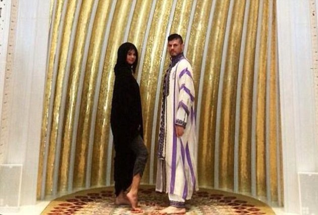 Selena Gomez caused fury online after posting this image on her Instagram account, showing her flashing her ankle while visiting Abu Dhabi's Sheikh Zayed Grand Mosque  DailyMail