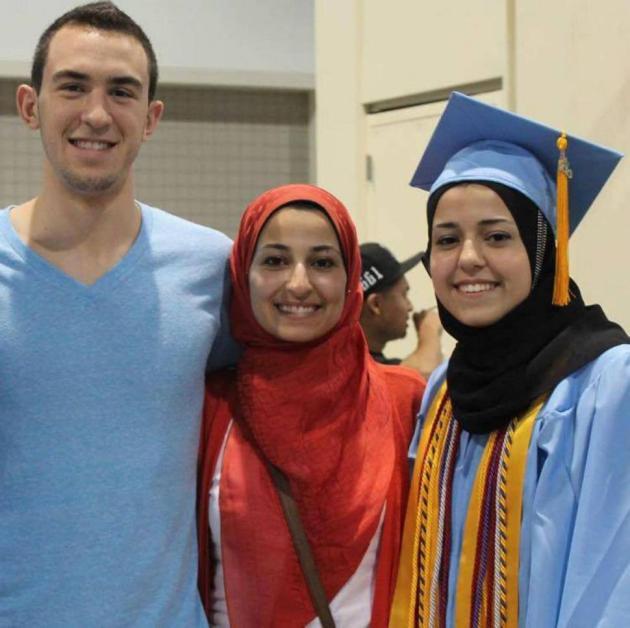 From left 23-year-old Deah Shaddy Barakat, his wife, Yusor Mohammad Abu-Salha, 21, and her sister, Razan Mohammad Abu-Salha, 19