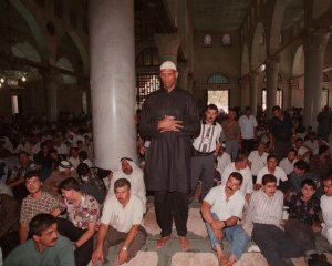 Kareem Abdul-Jabbar in the Al Aqsa Mosque, one of Islam's holiest sites, in Jerusalem in 1997.