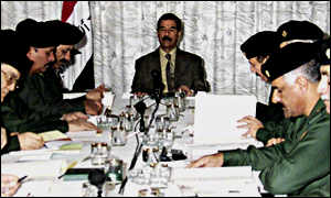 Saddam Hussien with members of his Revolutionary Council