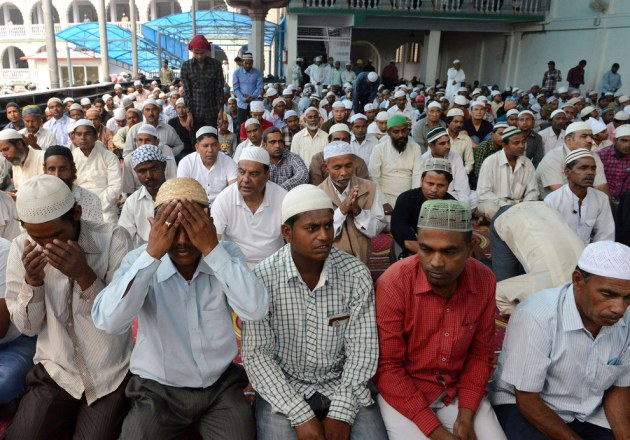 Nepalese Muslims offer the first Friday prayers of Ramadan at The Kashmiri Mosque in Kathmandu. Prakash Mathema / Getty Images